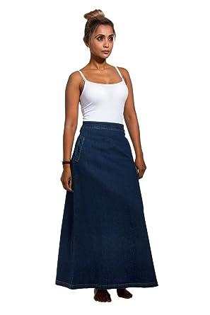 475241a9e Lottie Long Denim Skirt - Darkwash Maxi Jean Skirt with Stretch US 10-20  Blue