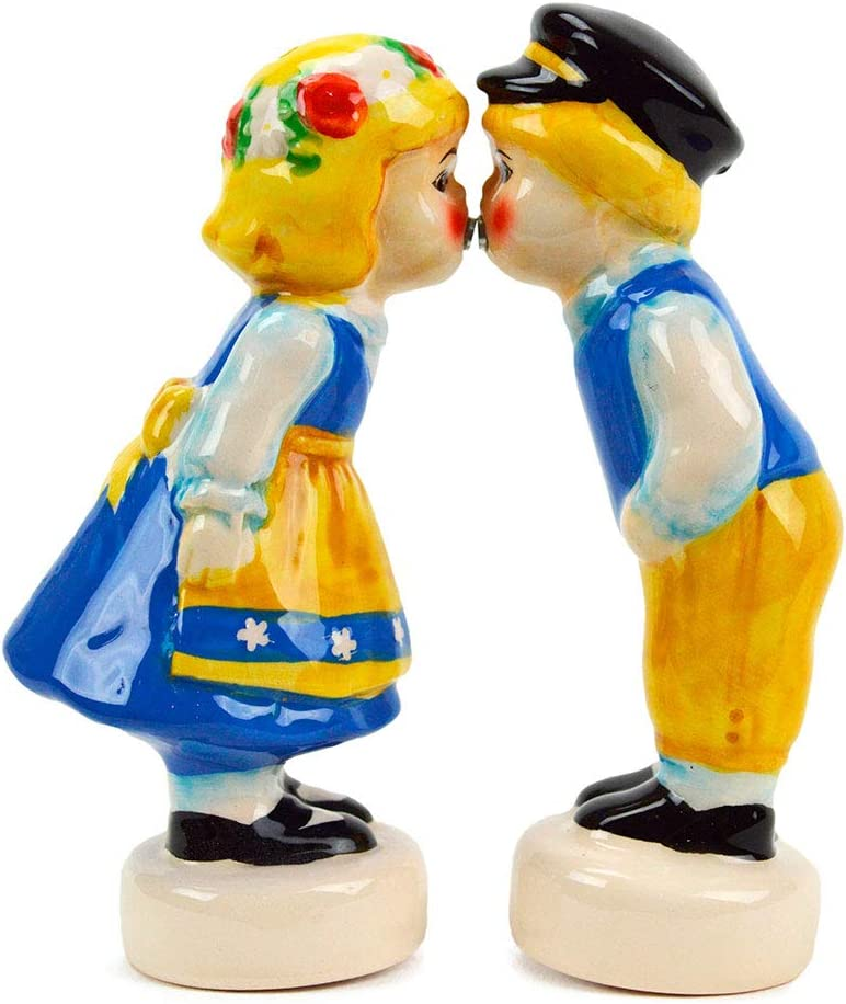 Magnetic Swedish Kissing Couple Collectible Ceramic Salt and Pepper Shakers Set by E.H.G