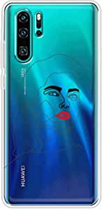 Okteq Clear TPU Protection and Hybrid Rigid Clear Back Cover Case Printed Compatible with Huawei P30 pro- women face2 By Okteq