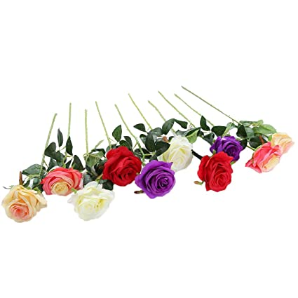 Amazon justoyou 10pcs artificial rose silk flower blossom justoyou 10pcs artificial rose silk flower blossom bridal bouquet for home wedding decor mixed color mightylinksfo