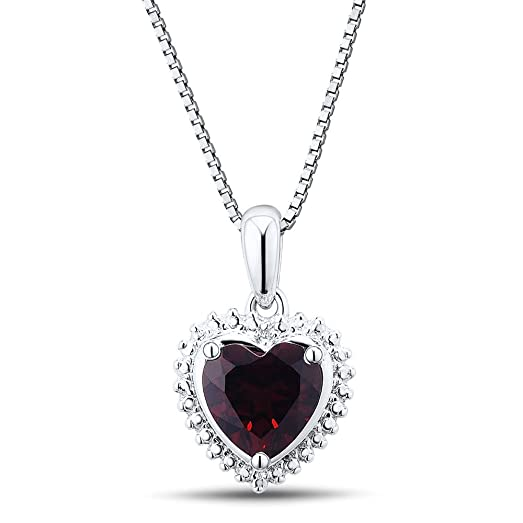 Amazon garnet heart pendant necklace with diamond accent in garnet heart pendant necklace with diamond accent in rhodium plated sterling silver aloadofball Gallery