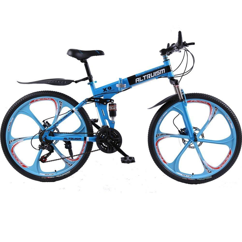 Altruism X9 マウンテンバイク 折り畳み式 26インチ タイヤ シマノ21段変速 ロードバイク 泥除け 軽量 アルミニウム合金 B01JNWMUBC 青 青