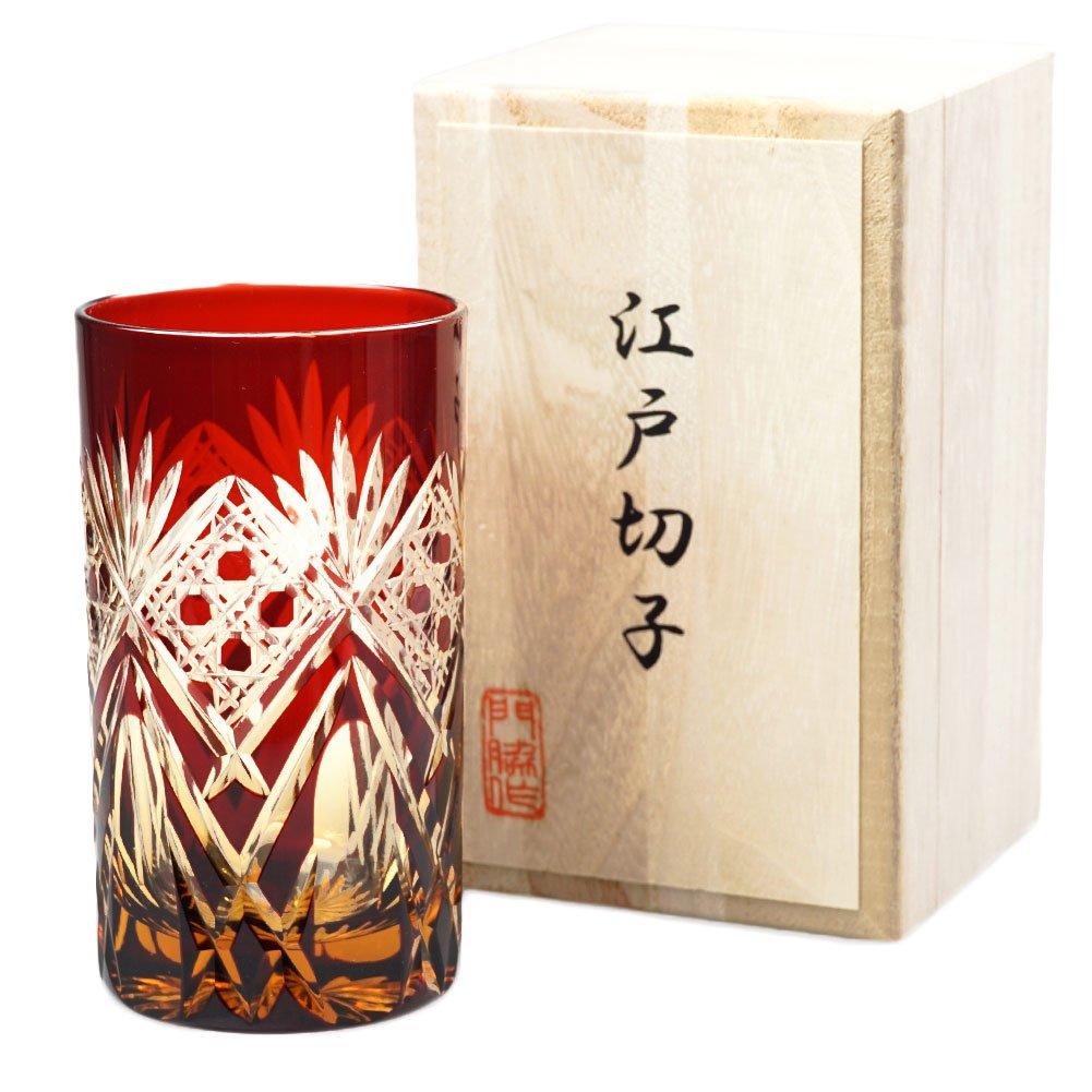 Edo Kiriko Tumbler Japanese Cut Glass 7.4 Oz Highball Glass Sasa-Kagome - Red x Amber [Japanese Crafts Sakura]