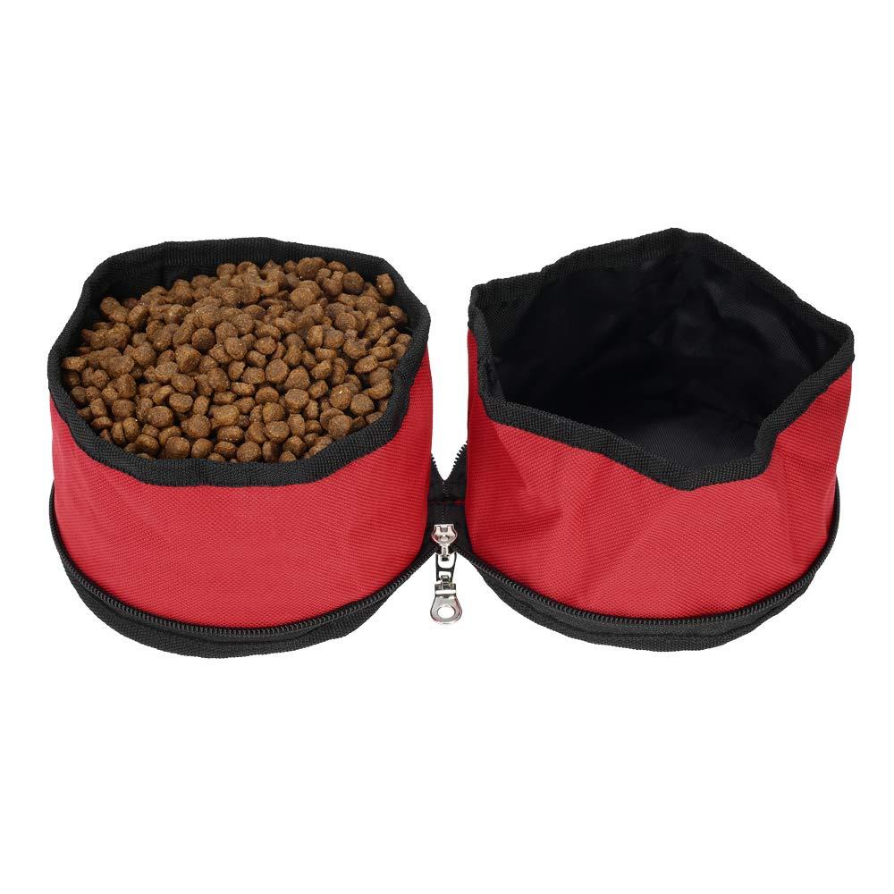 Un contenitore di cibo per animali da compagnia di Oxford Fabric Dog Water Bowl Bag Dual Bowl Feeder Container per viaggi Outdoor Activities, B