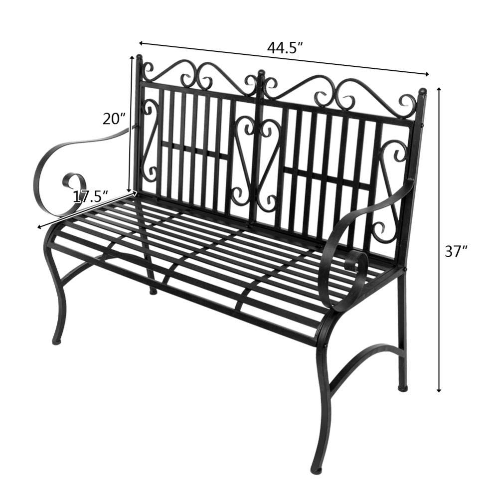 Outdoor Double Seat, Foldable Metal Antique Garden Bench, Folding Outdoor Patio Chair, Decorative Outdoor Garden Seating, Park Yard Bench with Decorative Cast Iron Backrest