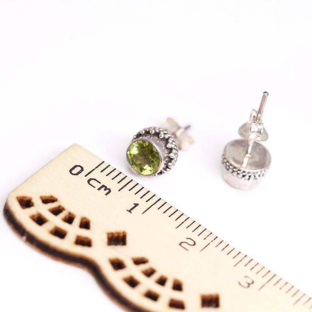 Luna Azure Green Olivine Peridot Gemstone Birthstone 925 Sterling Silver Stud Earrings