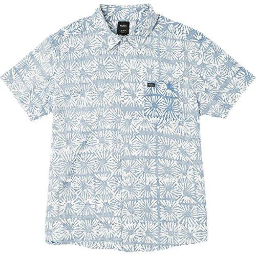 RVCA Men's Flower Block Sleeve Woven Button Down Shirt, Cobalt, M (Woven Sleeve Shirt)