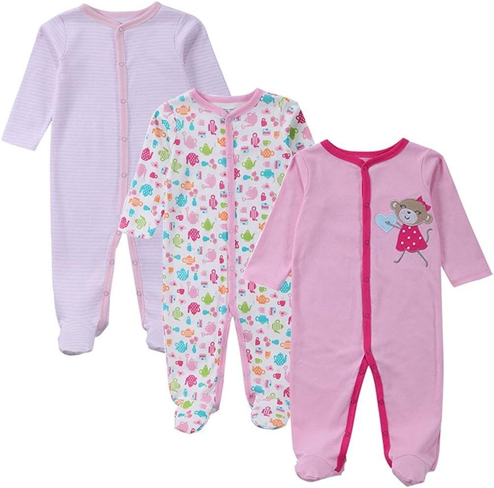 YOUJIA Unisexe B/éb/é Lot de 3 Grenouill/ère en Manches Longues Barboteuse Pyjama