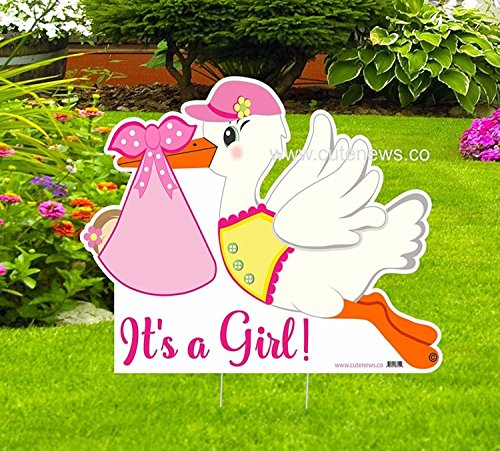 Announcement Girl Birth Stork (It's a Girl Stork Yard Sign - Welcome Home Newborn Baby Lawn Announcement (Pink) Die Cut)