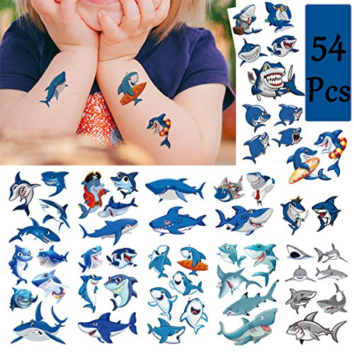 Shark Temporary Tattoos(54Pcs in Large Size) Summer Waterproof Shark Stickers for Boys, Ocean Adventure Party Supplies, Birthday Baby Shower Summer Pool Party Decoration Supplies for Kids and Adults ()