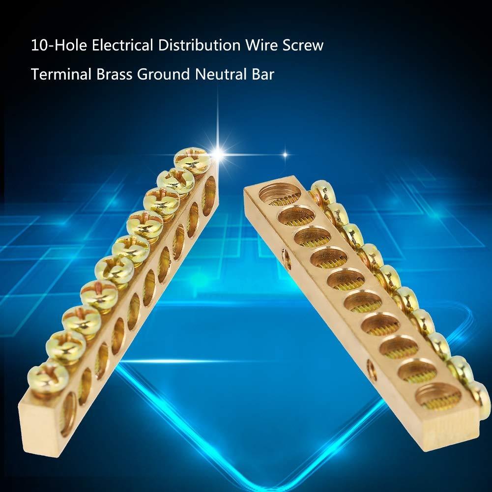 Barre de Bornier Fil de Distribution Electrique /à 10 Trous Barre de Masse Neutre en Laiton Paquet de 10