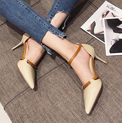 Altos Elegante Se Zapatos Los Tacones Ocio Trabajo 7Cm MDRW Lady Color Muelle De Discoteca Cuero al 6wv5nqg