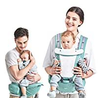 Kidshome 4 in 1 Baby Carrier Hipseat Ergonomic Front Facing Infant Sling Backpack Detachable 4 Safe and Comfortable Positions Suitable for 0-3 Years Old Baby (Turquoise)