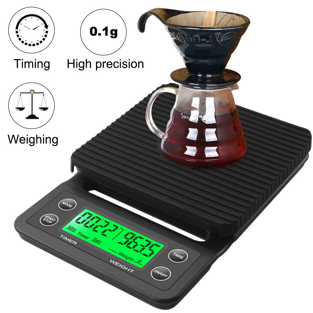 RCYAGO Coffee Scale with Timer Drip Scale 3kg 0.1g Black Backlight LCD Display Digital Weight Grams and OZ Kitchen Food Scale High Precision Cooking Scale