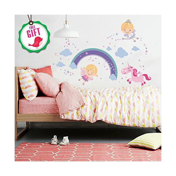 Unicorn Baby Girl Room Décor - Fairy Wall Stickers Childrens for Bedroom, Nursery, Playroom - with Free Gift! 5