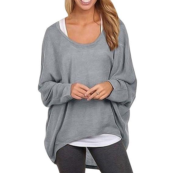 FeelinGirl Blusa Holgada Irregular Camiseta Suelta Tops Casual Mangas Largas para Mujer Gris S