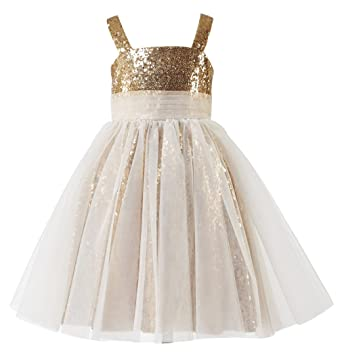 c11201febc9 princhar Sequin Tulle Short Girl Dress Little Girls Party Toddler Dress US  2T Gold