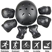 JIM'S STORE Ensemble Protection Sports Enfants, 7PCS Genouillères Coudières Garde-Poignets Casque Plein Air Roller Patins Planche à roulettes Cyclisme (Noir)