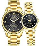 Men and Women Couples Automatic Mechanical Gold & Silver Stainless Steel Watches Gift Set Sapphire Watch (Gold Black)