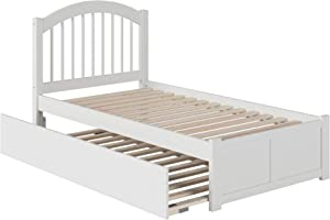 Atlantic Furniture Windsor Platform Bed with Twin Size Urban Trundle, Twin, White