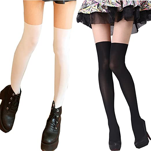 e89227ccecb5c Searchself Sexy Cute Mock Over Knee Pantyhose Stockings Tights/Many Styles  (D)