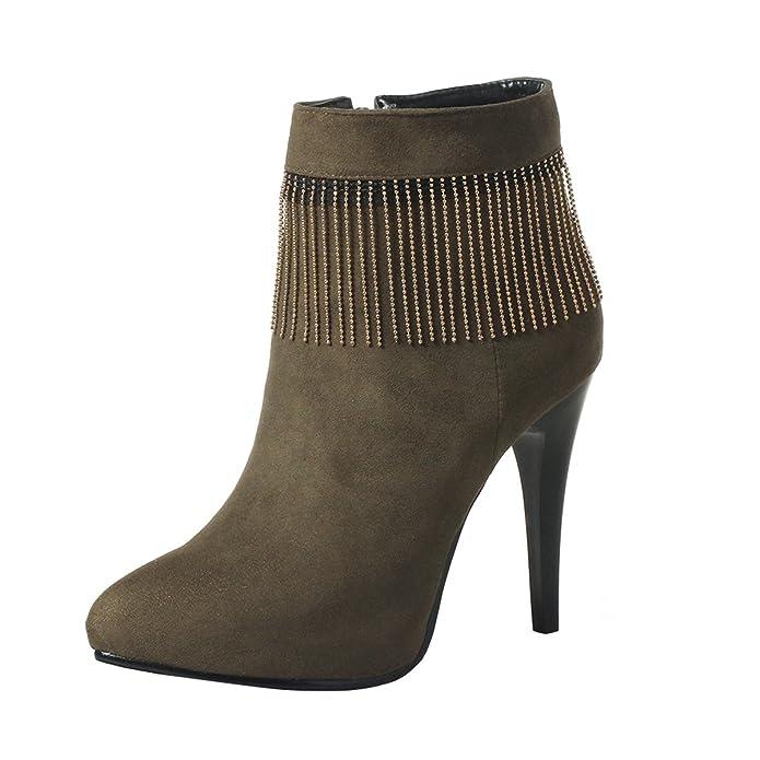 YE Damen Ankle Boots Spitze Stiefeletten Stiletto High Heels Plateau mit Fransen  Ketten und Reißverschluss Elegant Schuhe: Amazon.de: Schuhe & Handtaschen