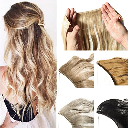 Hidden Invisible Flip on Wire in Synthetic Hair Extension 20'' Not Clip in Hair Extensions Secret Miracle Wire Hair Piece with Fish Line Headband Long Curly Wavy Medium Brown (Secret Fish)