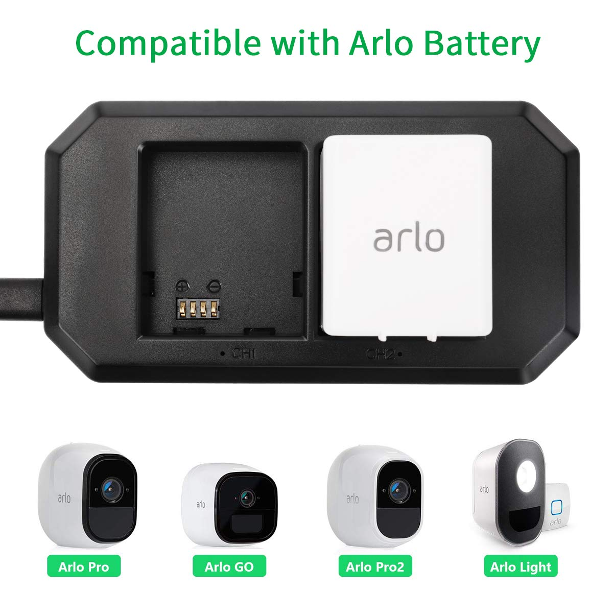 Keenstone 2 Slot Charger for Arlo Rechargable Batteries Compatible with Arlo Pro, Arlo Pro 2, Arlo Go and Arlo Security Light(The Pictured Batteries are not Included)