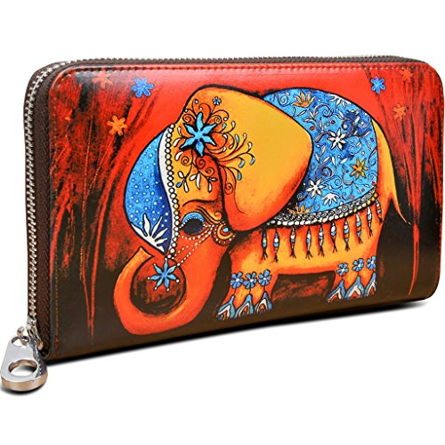 YALUXE Women's Elephant Print Real Leather Large Zipper Clutch Wallet Phone Passport Checkbook Holder Red