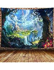 "Awesocrafts Wandtapijt Muur Opknoping Magic Castle Forest Psychedelic, Tapestries voor Slaapkamer College Dorm Woonkamer Muur Decor Kunst (Kasteel, 59x79"")"
