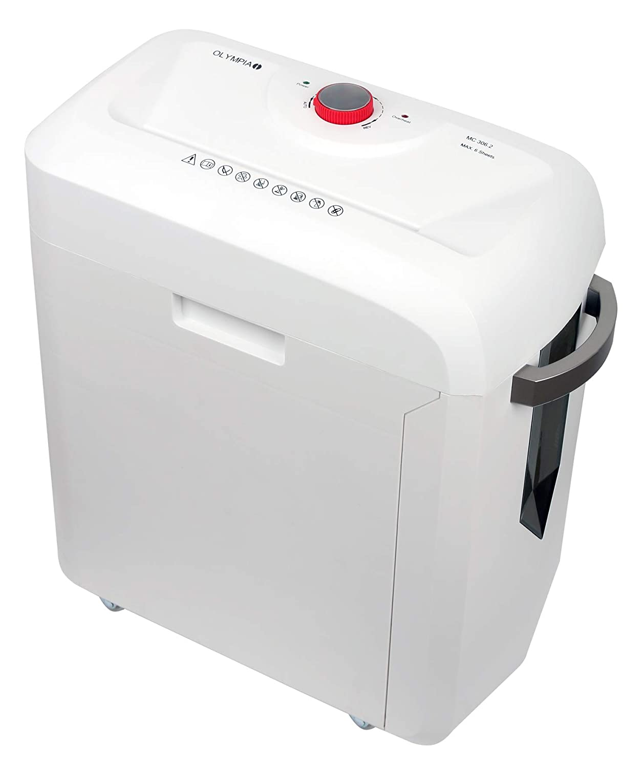 Olympia MC 306.2 Micro-cut shredding 62dB White paper shredder - Paper Shredders (Micro-cut shredding, 22 cm, 19 L, 62 dB, 2 x 15, White)