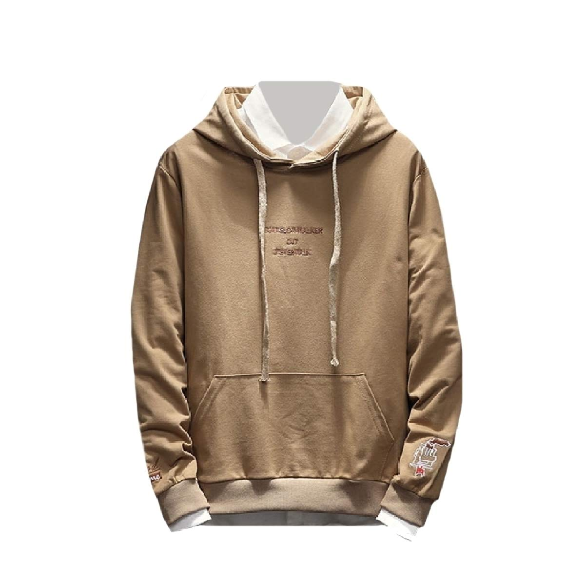 YUNY Mens Long-Sleeve Pullover Pockets Embroidery Hoodies Sweater Apricot XL
