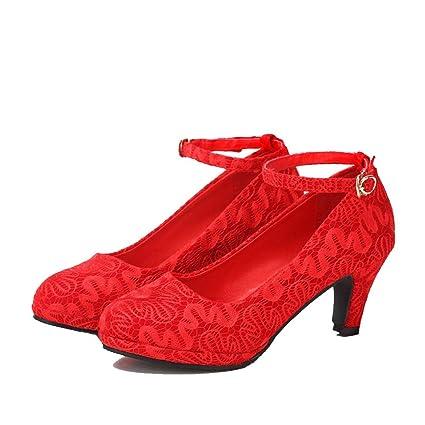76db6927cc Beautiful bridal shoes Scarpe da Sposa - Scarpe da Sposa Rosso Tacchi Alti  con Pizzo Spessore nelle ...