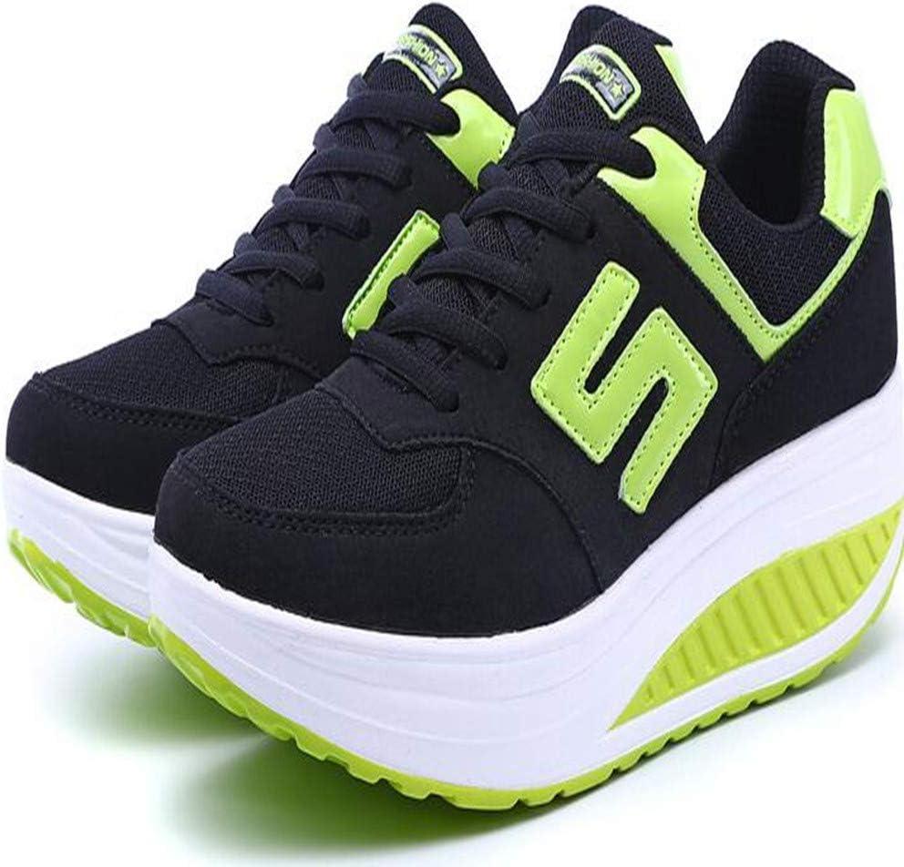 WJNBCRGLM Zapatillas de Deporte para Mujer Plataforma Cuña Zapatillas de Peso Ligero Zapatillas de Running para Mujer Columpios Transpirables Deportes para Adelgazar, 37: Amazon.es: Deportes y aire libre