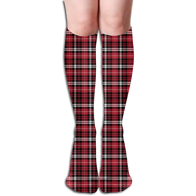 04e7c2794f3 Amazon.com  Black Red Plaid Tartan Knee High Socks Stockings For Men   Women