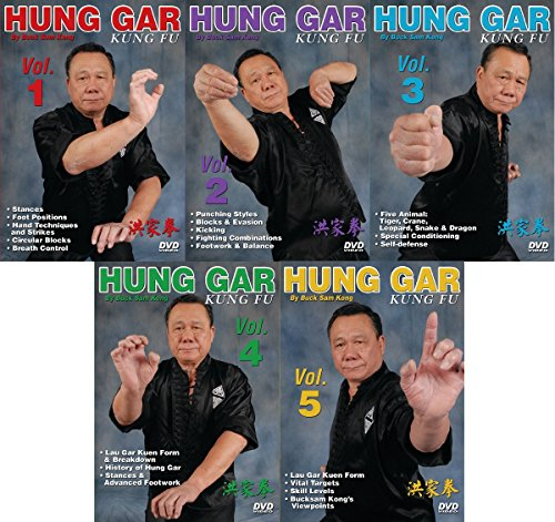 5 DVD Set Hung Gar Kung Fu forms fighting footwork balance ++ GM Buck Sam Kong by Empire Publications