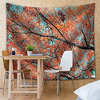 Created By a Professional Artist, Gorgeous Creative Design, Tree Branches Covered with Orange Leaves and Blue Sky Behind It