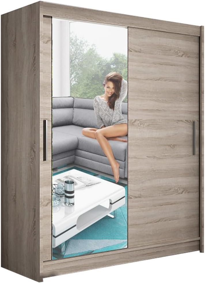 Armario moderno para dormitorio espejo 2 puertas correderas Misesa VI Ancho 150 cm: Amazon.es: Hogar