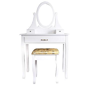 CCLIFE Tocador con cajones y taburete tocador de maquillaje mesa de maquillaje Tocador con taburete y espejo, Color:004B-Blanco: Amazon.es: Hogar