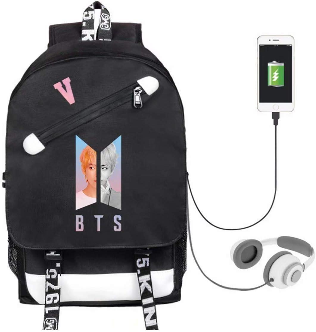 Kpop BTS Backpack Schoolbag Bookbag Jung Kook Suga V Jimin Rap Jhope Jin Bag with USB Charging Port and Earphone Hole