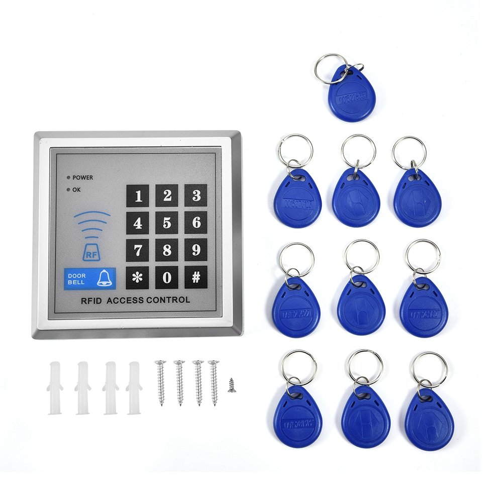 Zerone RFID Proximity Single Door Entry Access Control System with 10 ID Key Fobs Reader,Electronic Password Door Bell Lock System