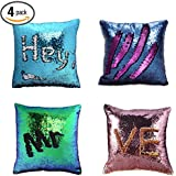 Pillow Case Sequins Cushion Cover - Wonder4 4Pack Reversible Mermaid Throw Pillow Case Color Changing Sequins Standard Cotton for Couch Decoration (Purple/Pink/Navy Blue/Light Blue) 16 x 16 inches