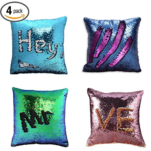 Pillow Case Sequins Cushion Cover - Wonder4 4Pack Reversible Mermaid Throw Pillow Case Color Changing Sequins Standard Cotton for Couch Decoration (Purple/Pink/Navy Blue/Light Blue) 16 x 16 inches - Pink Wall Cushion