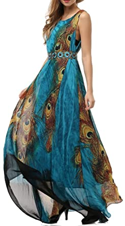Wantdo Women's Peacock Printed Bohemian Summer Maxi Dress Plus ...