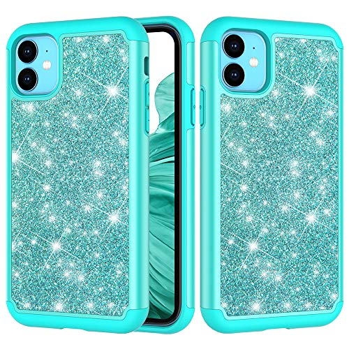 iPhone 11 Case, ZERMU 2in1 Dual Layer Slim Fit Luxury Glitter Pretty Hard Shell Hybrid Thin Soft Rubber Bumper Bling Sparkly Shining Fashion Style Case for iPhone 11 6.1
