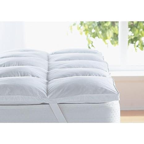 Cubrecolchón suave y blanco de pluma de ganso, de Love2SleepAntiácaros y 100 % algodón,