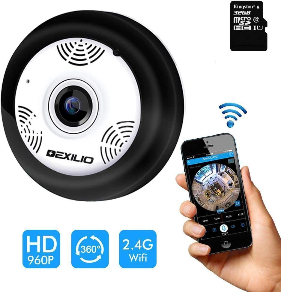 360 Panoramic Wireless WiFi IP Camera, DEXILIO Home Security Surveillance Camera with Fisheye Lens Night Vision Motion Detection Cloud Storge,Watching Room Without Blind Area,Free 32GB Card