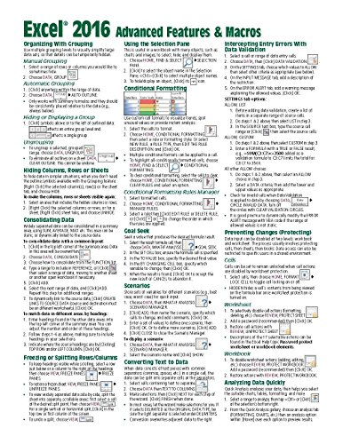 Microsoft Excel 2016 Advanced & Macros Quick Reference Guide - Windows Version (Cheat Sheet of Instructions, Tips & Shortcuts - Laminated Card)