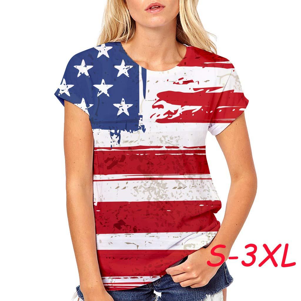 Respctful✿American Flag Clothing for Women Summer O Neck Raglan Short Sleeve Shirts Casual Short Sleeve Red by Respctful Women's Clothing (Image #3)