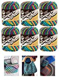 Lily Sugar n' Cream Psychedelic 6 Pack Bundle 100% Cotton Medium 4 Worsted with 3 Patterns